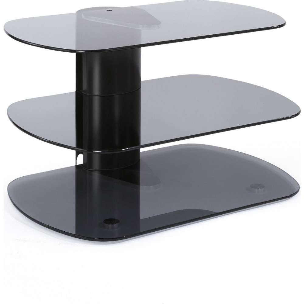 Modern Tv Stand 3 Shelf Glass Platform Display Storage Regarding Small Tv Stands (View 6 of 15)
