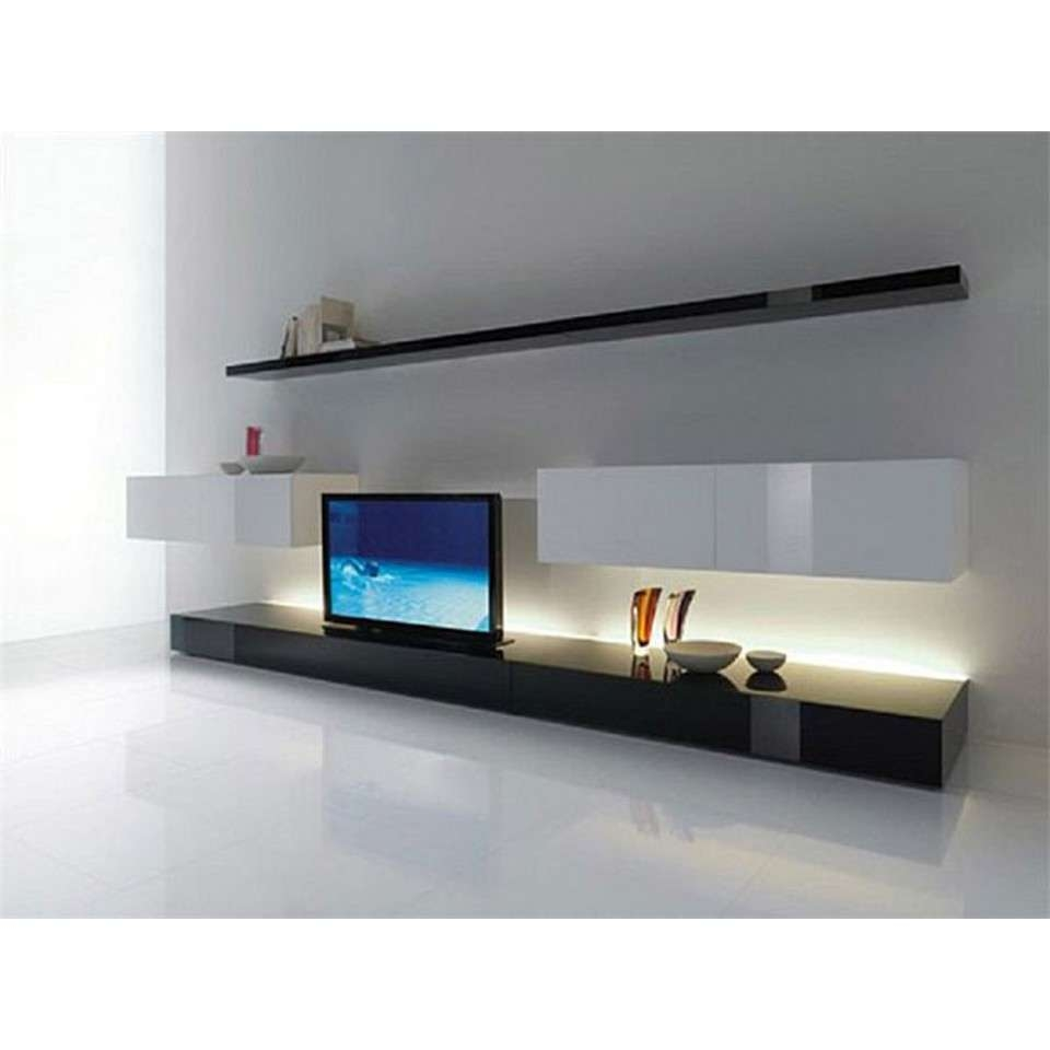 Modern Tv Stand And Black Tv Bench Plus Wall Cupboard Long Wall In Long Tv Stands Furniture (View 9 of 15)