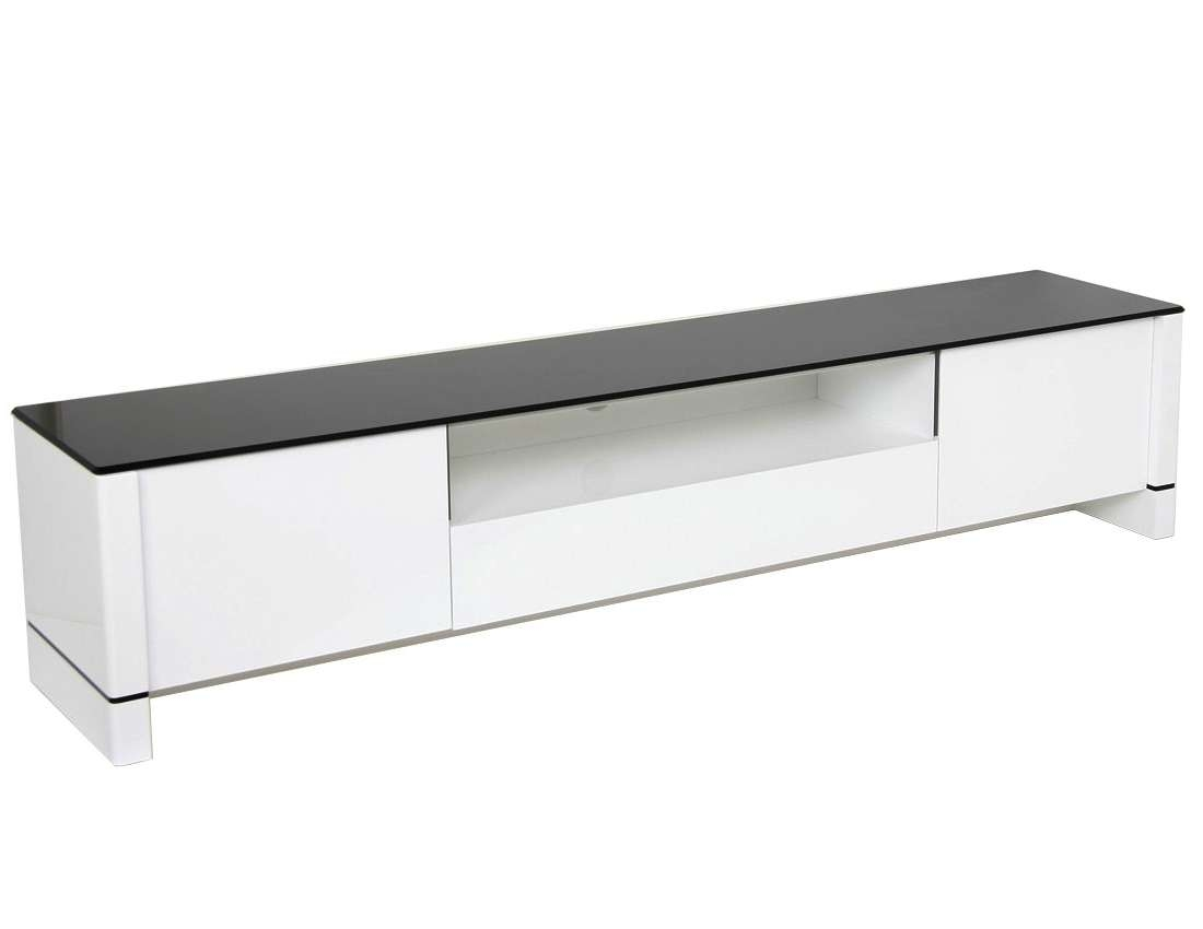 Modern Tv Stand – White With Black Glass Within Glossy White Tv Stands (View 7 of 15)