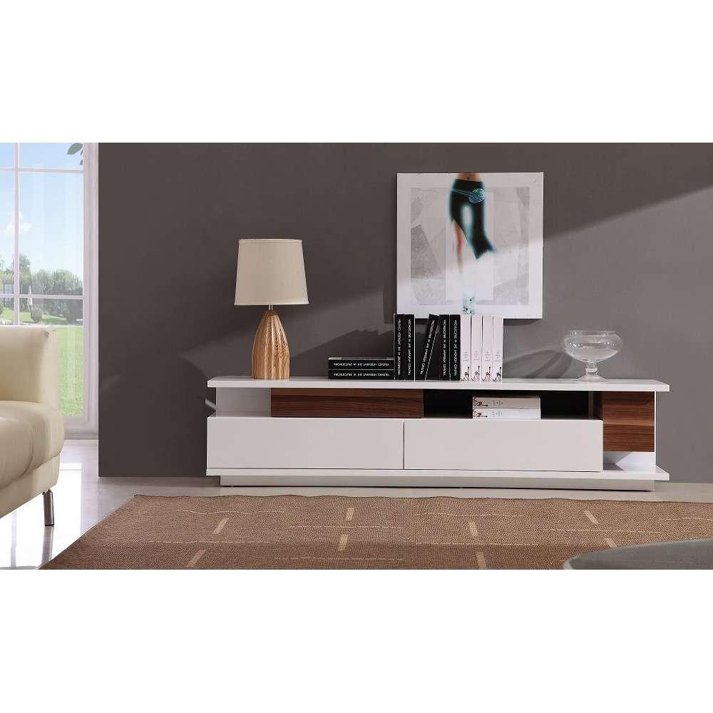 Modern Tv061 Tv Stand In White High Gloss/ Walnut, J&m Furniture Throughout White Gloss Tv Stands With Drawers (View 9 of 15)