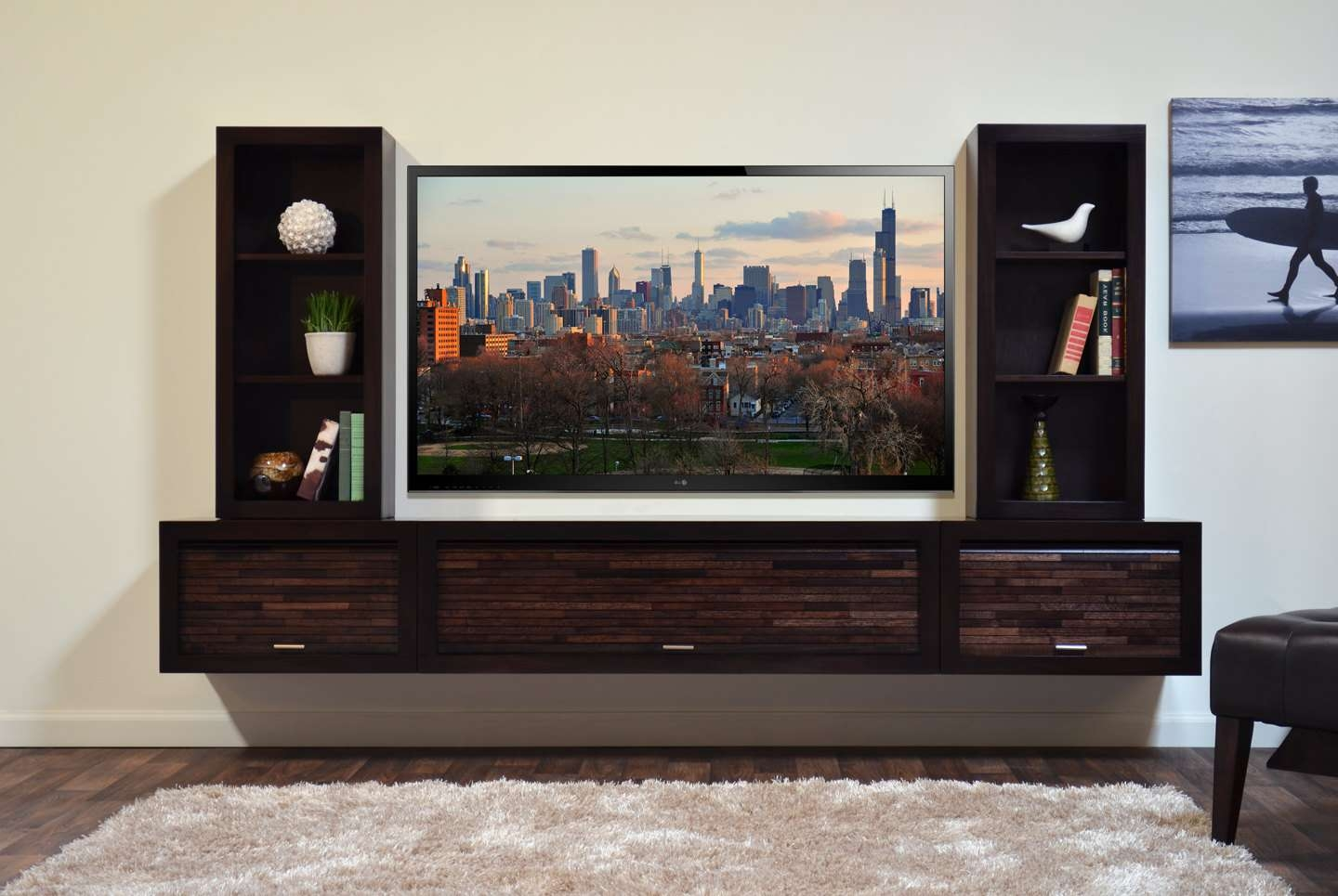 Modern Wall Mounted Floating Tv Stand Entertainment Console With Regard To Mirrored Tv Cabinets Furniture (View 14 of 20)