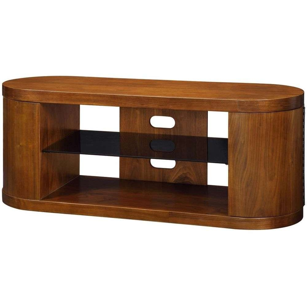 Modern Walnut Wooden Storage Stand Black Glass Shelves For Oval Glass Tv Stands (View 6 of 15)