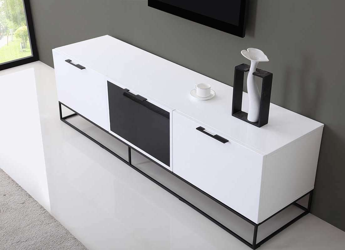 Modern White Black Tv Stand Bm35 | Tv Stands In White And Black Tv Stands (View 11 of 15)