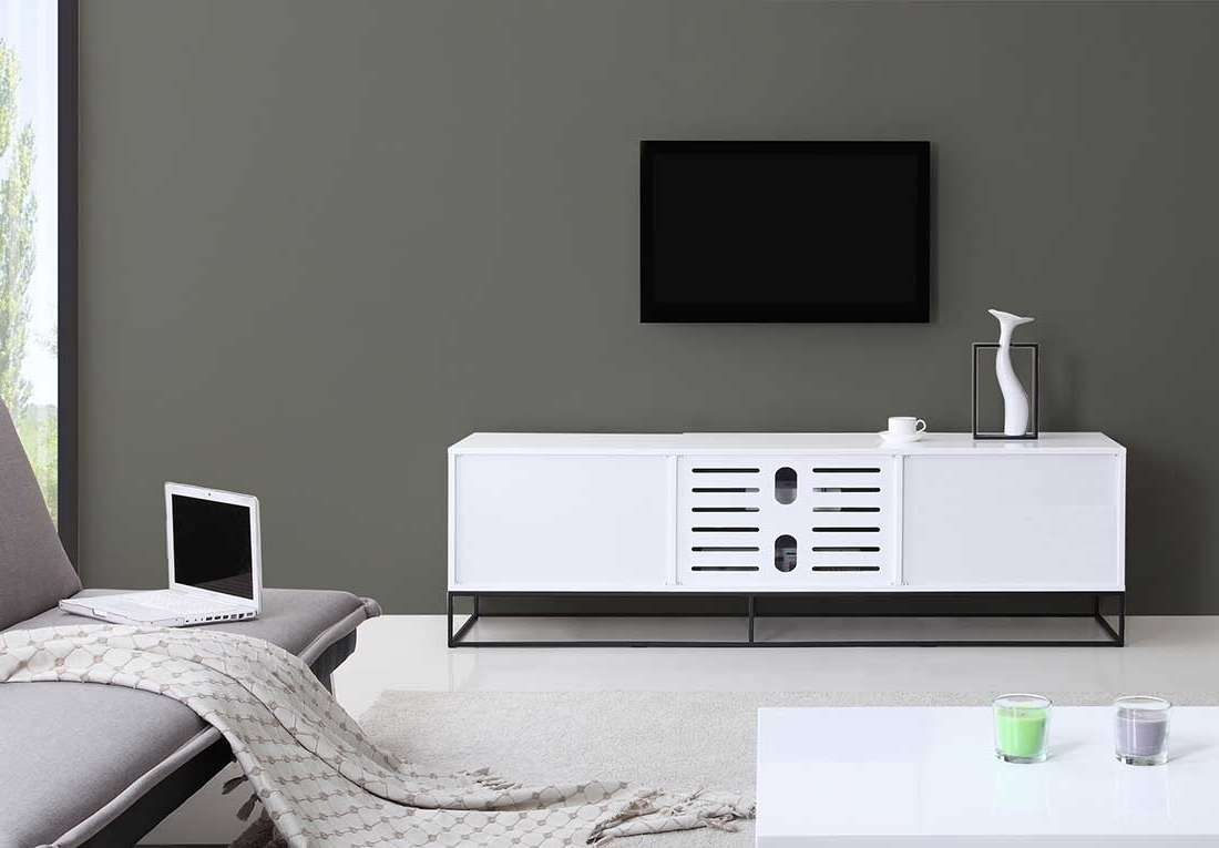 Modern White Black Tv Stand Bm35 | Tv Stands In White And Black Tv Stands (View 9 of 15)