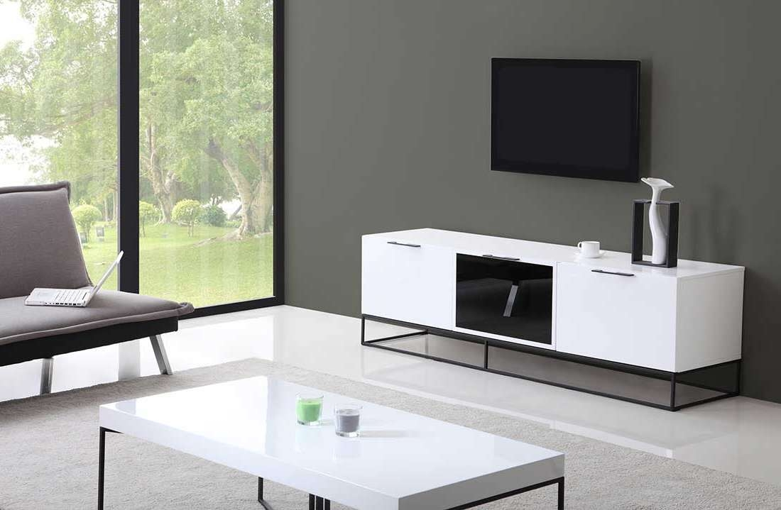 Modern White Black Tv Stand Bm35 | Tv Stands With Regard To Modern Black Tv Stands (View 13 of 20)