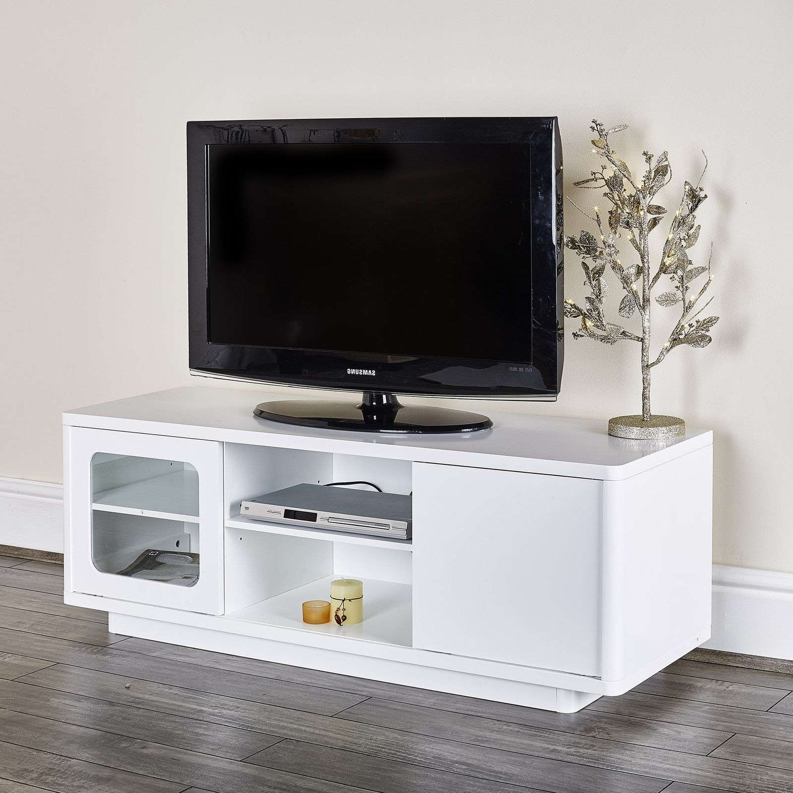 Modern White Tv Entertainment Unit Abreo Home Furniture Regarding Modern White Tv Stands (View 10 of 15)