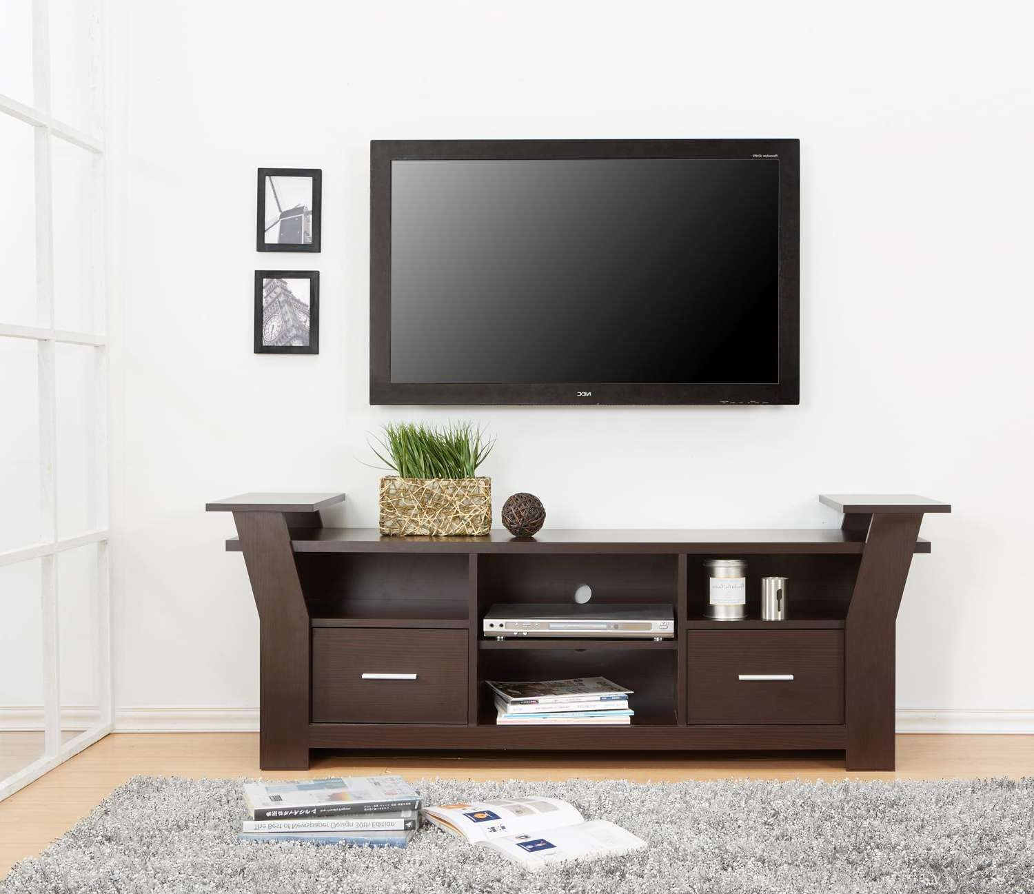 Modern Wooden Tv Stand With Storage Two Drawers And Four Shelves Inside Tv Stands With Drawers And Shelves (View 4 of 15)