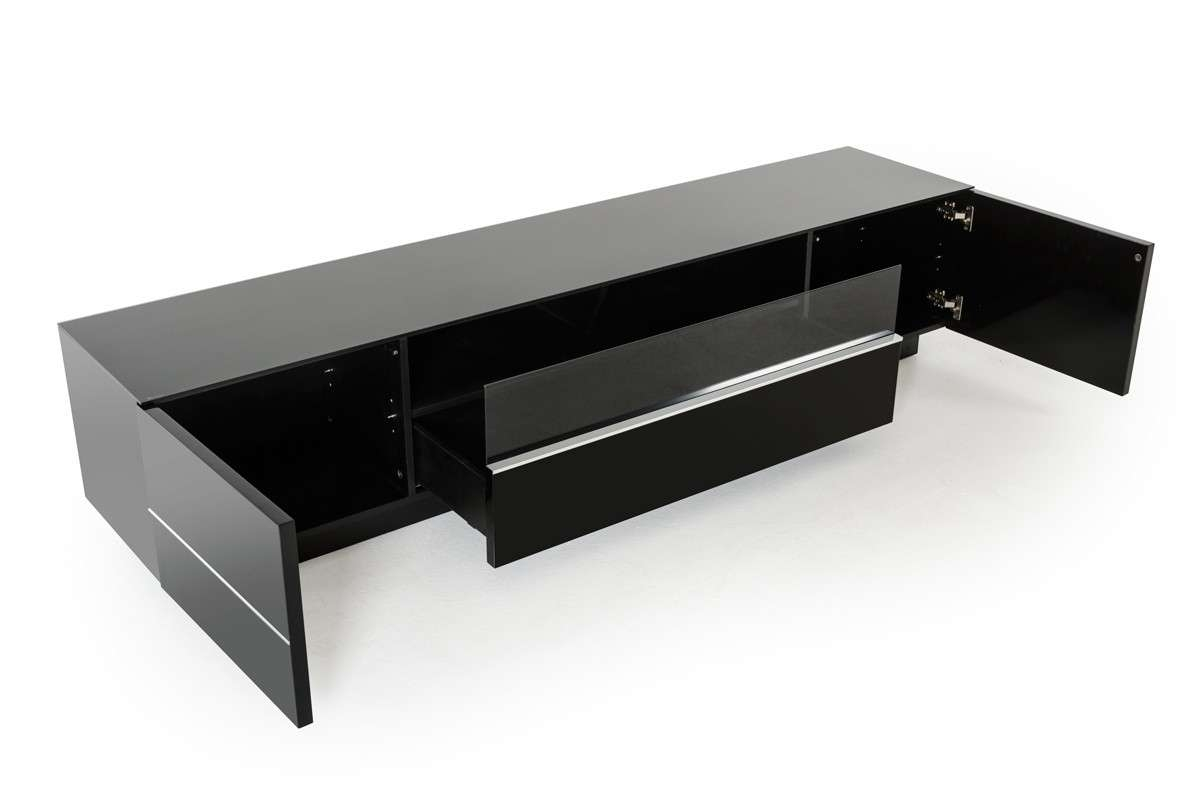 Modrest Caeden Contemporary Black High Gloss Tv Stand Within Shiny Black Tv Stands (View 6 of 15)