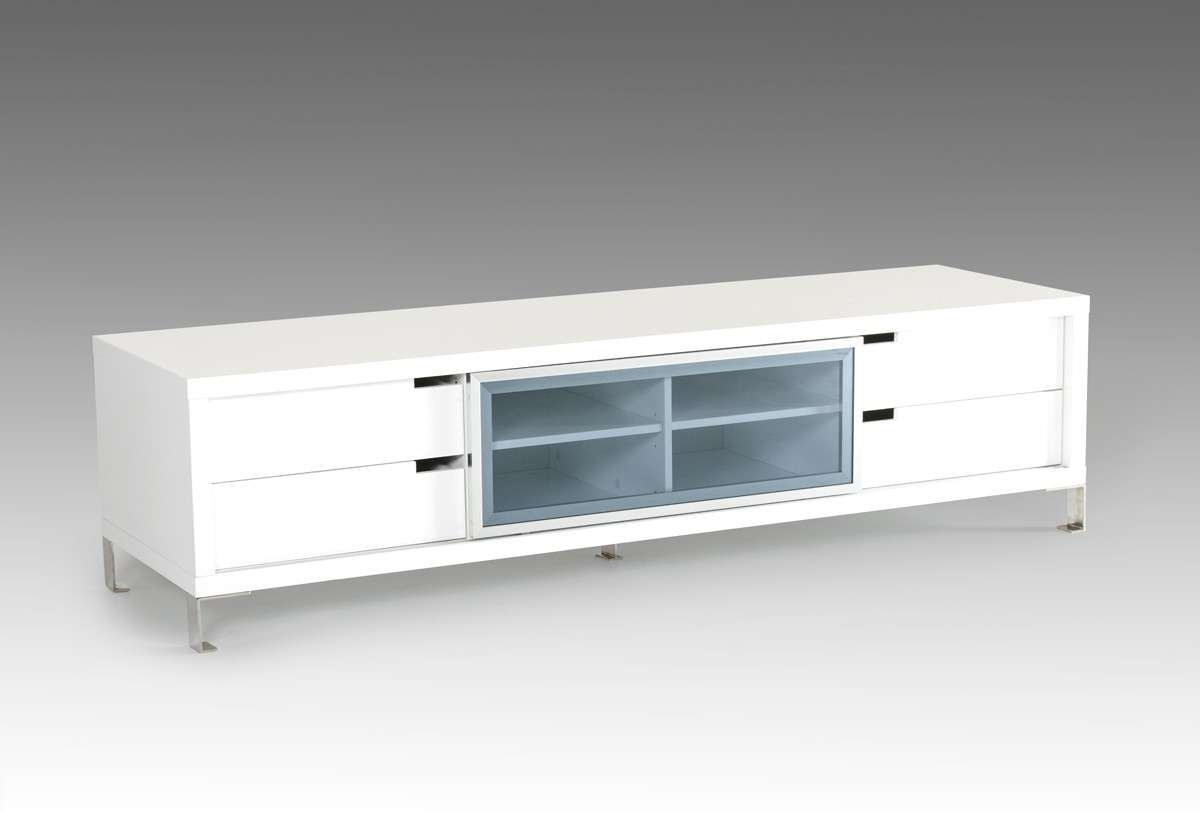 Modrest Edward Modern White Tv Stand Pertaining To Modern White Lacquer Tv Stands (View 12 of 15)