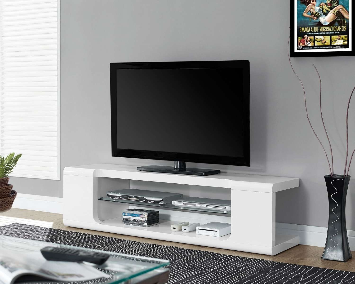 "Monarch Specialties Tv Stand – Glossy White, 60""l 