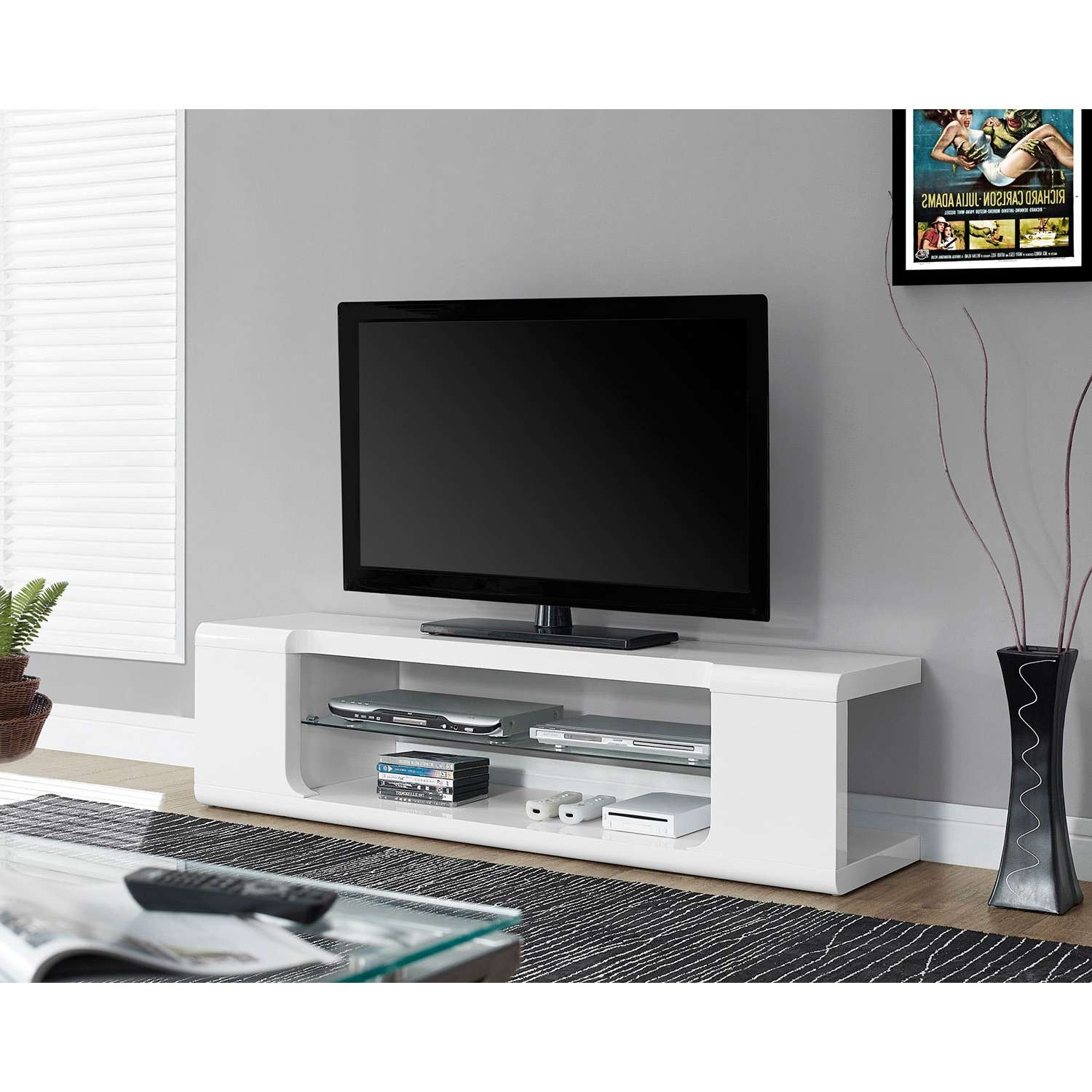 """Monarch Tv Stand For Tvs Up To 60"""" (i 3535) – Glossy White : Tv In Contemporary Glass Tv Stands (View 12 of 15)"""