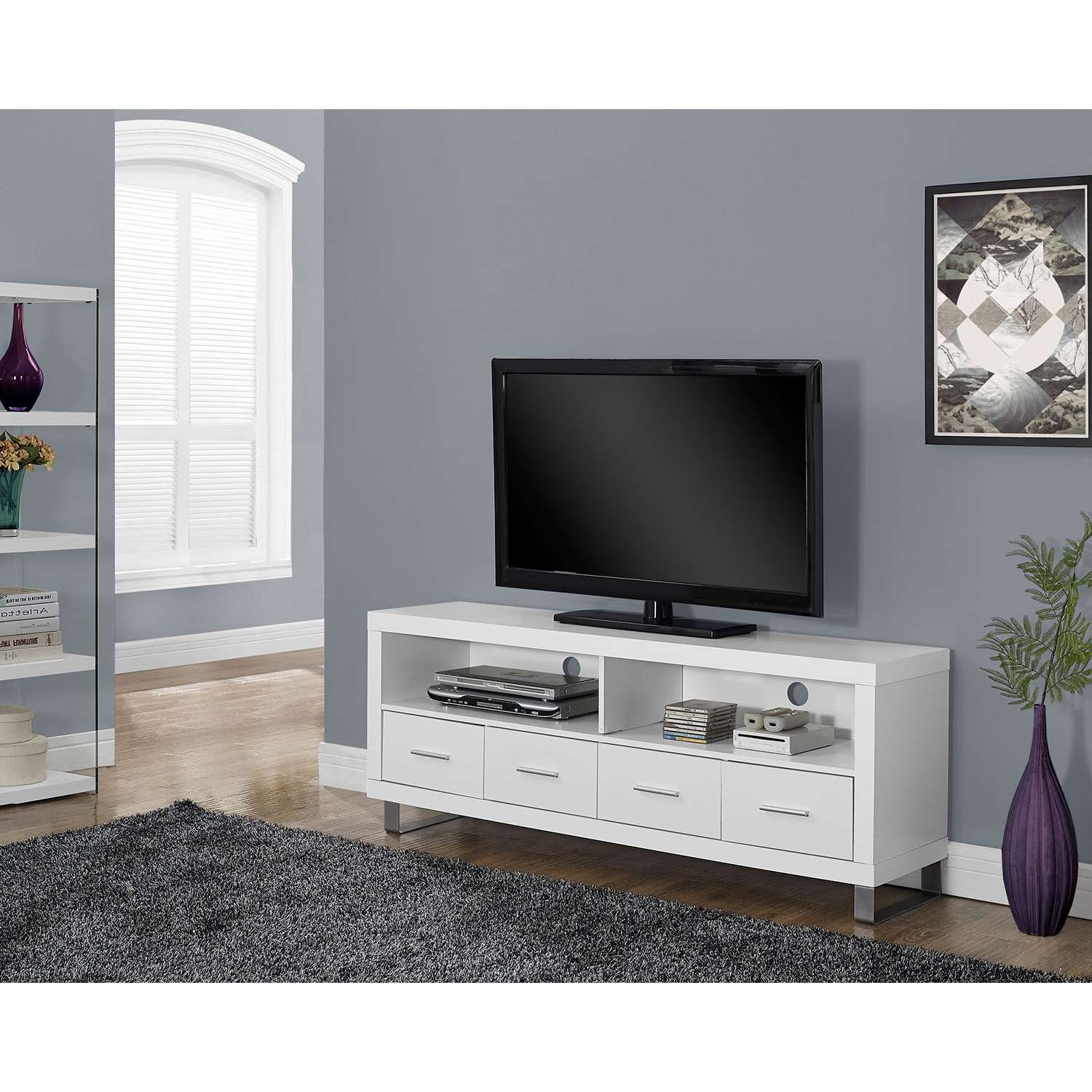 "Monarch Tv Stand For Tvs Up To 60"" – White : Tv Stands – Best Buy Intended For White Tv Stands (View 12 of 15)"