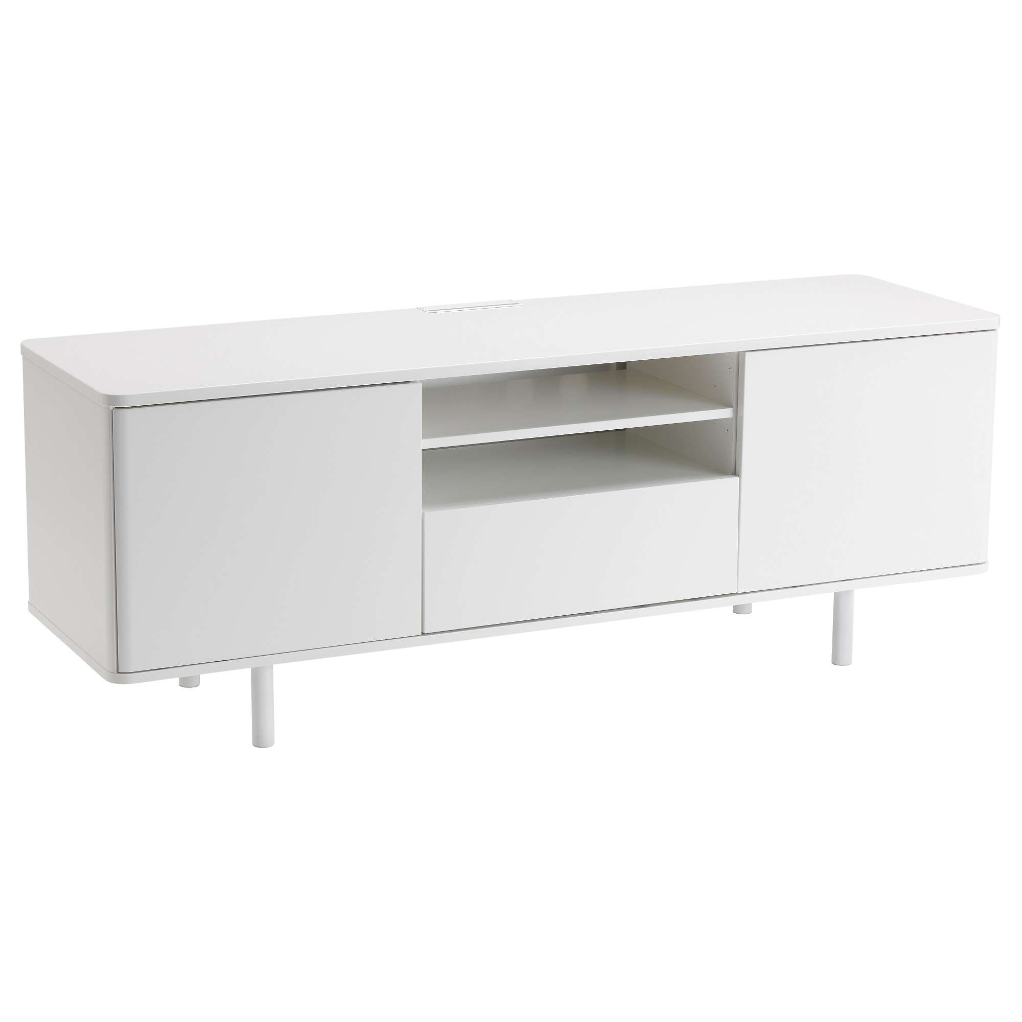 Mostorp Tv Bench White 159X46 Cm – Ikea Throughout White Gloss Tv Stands With Drawers (View 9 of 15)