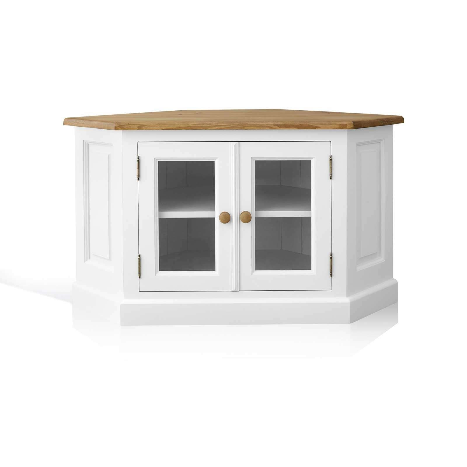 Mottisfont Painted Pine Corner Tv Unit With Glazed Doors In White Corner Tv Cabinets (View 6 of 20)