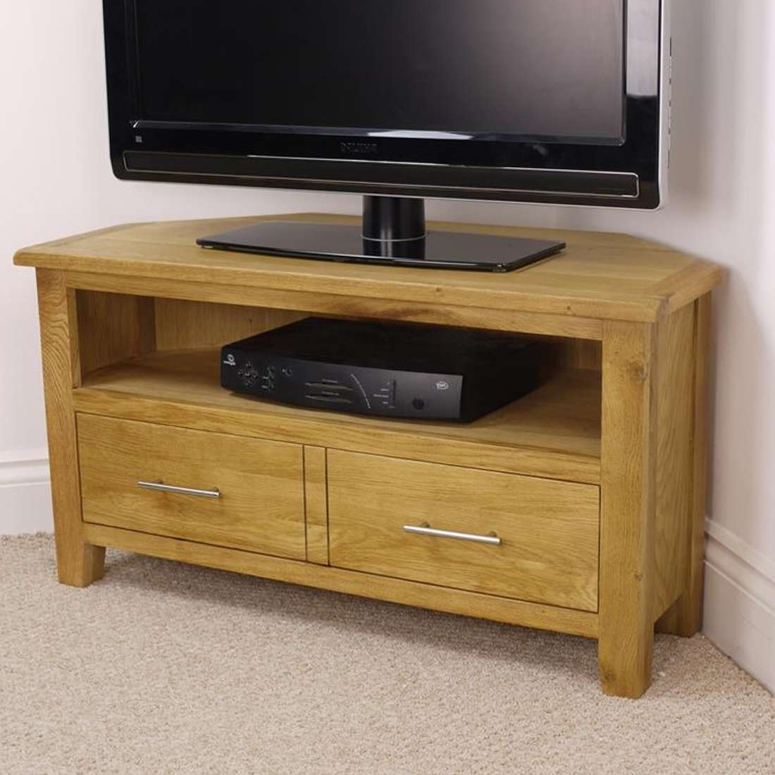 Nebraska Modern Oak Corner Tv Unit / Solid Wood Tv Stand / Oiled Throughout Tv Stands In Oak (View 10 of 15)