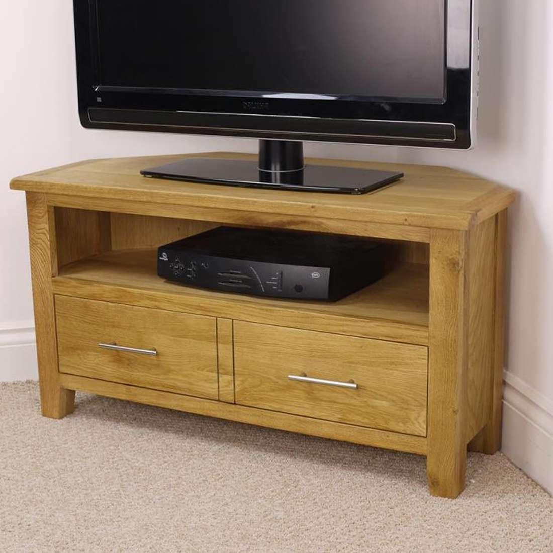 Nebraska Modern Oak Corner Tv Unit / Solid Wood Tv Stand / Oiled With Regard To Corner Oak Tv Stands For Flat Screen (View 11 of 15)