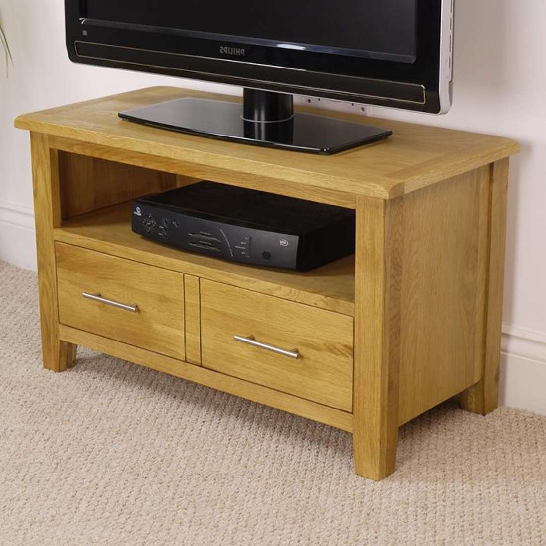 Nebraska Modern Oak Small Tv Unit / Solid Wood Tv Stand / Oiled Tv Inside Modern Oak Tv Stands (View 8 of 15)