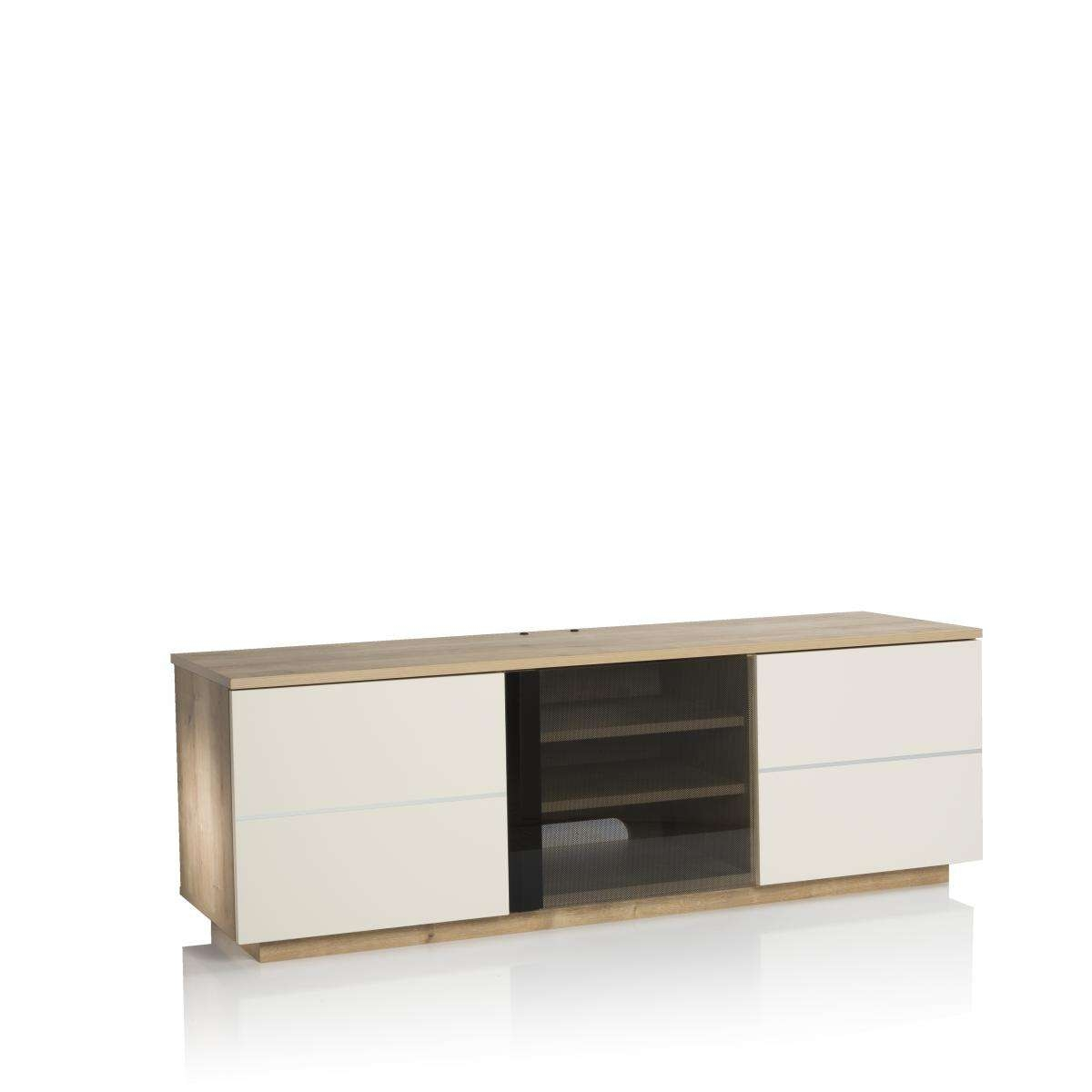 New London 150cm Tv Cabinet Oak /cream   Nldn Oak Cr For Cream Tv Cabinets (View 20 of 20)