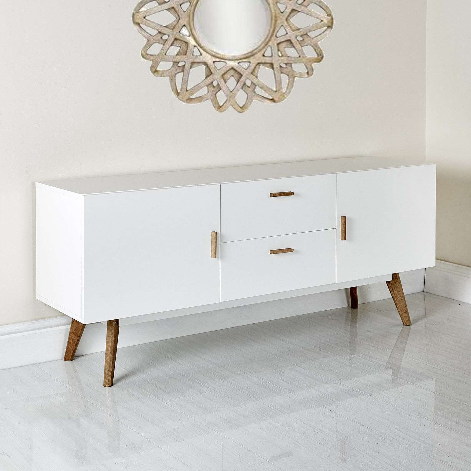 New Scandinavian Retro Tv Stand Sideboard Furniture White Grey 32 With Scandinavian Tv Stands (View 7 of 15)