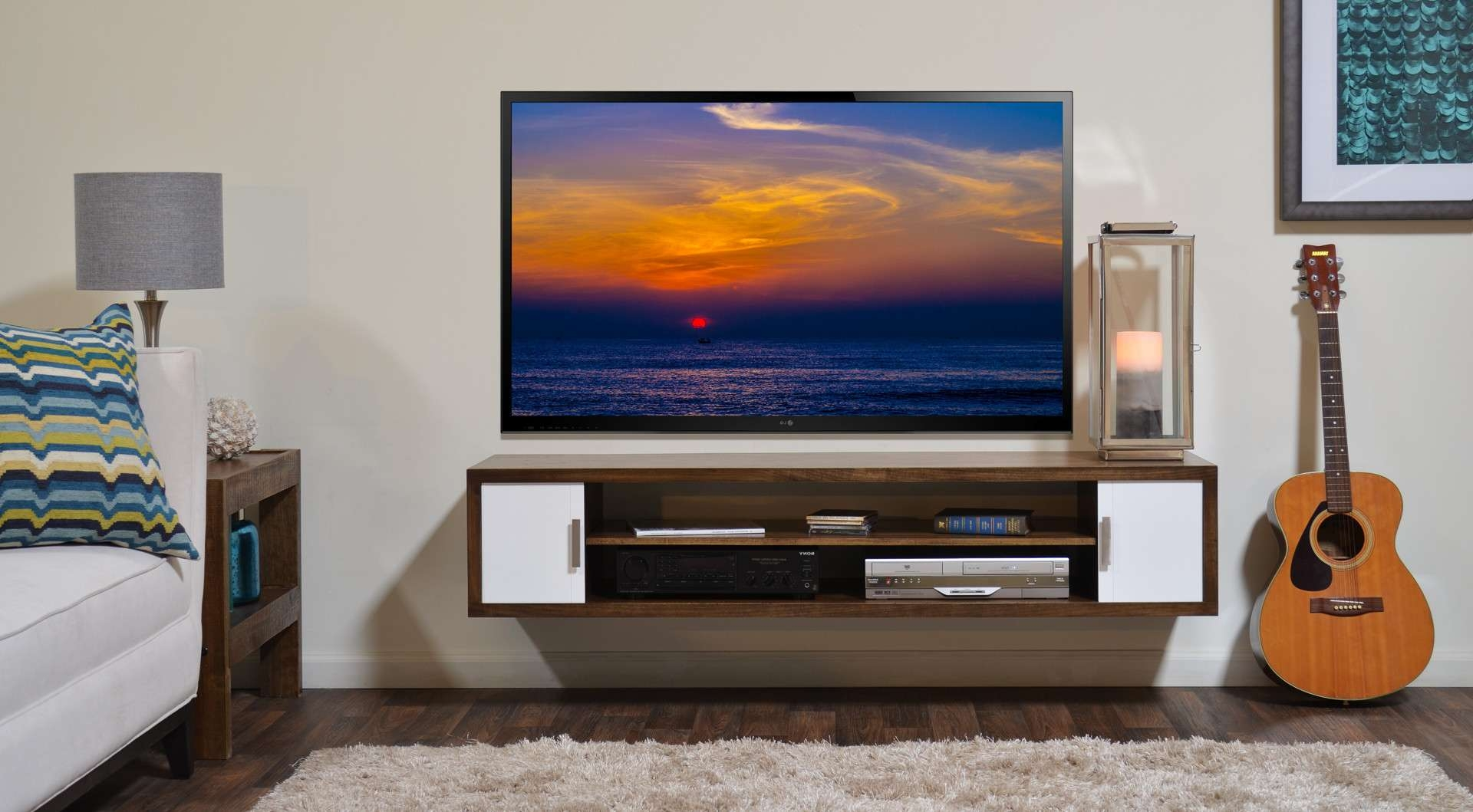 Nice Design Of The Tv Stand White Wall Can Be Decor With Wooden With Regard To White Wall Mounted Tv Stands (View 6 of 15)