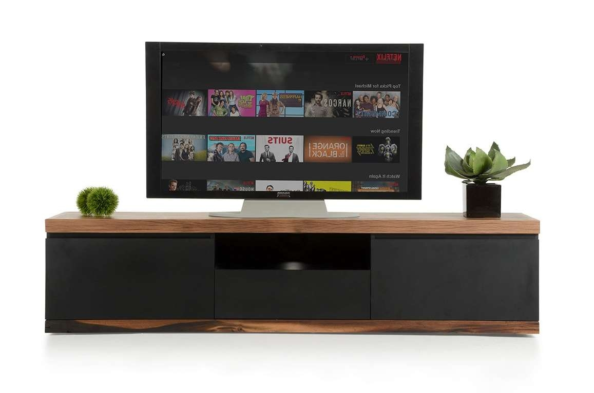 Norse Modern Black & Wood Tv Stand Inside Modern Wooden Tv Stands (View 10 of 15)