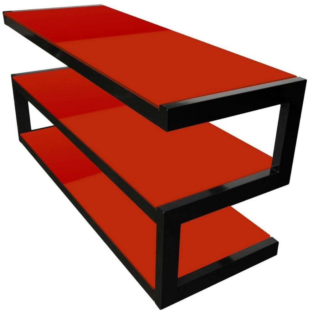 Norstone Esse 3 Shelf Av Tv Stand With Glass – Red 1100Mm Pertaining To Black And Red Tv Stands (View 12 of 15)