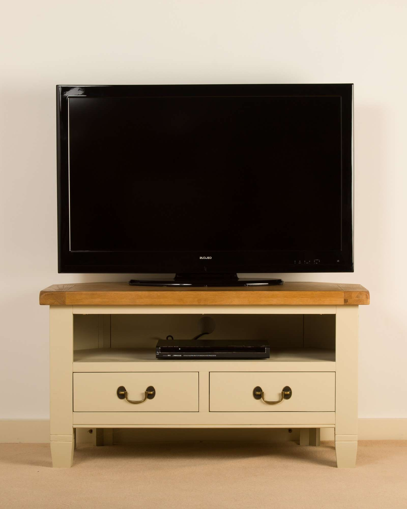 Oak And Painted Corner Tv Cabinet Throughout Painted Corner Tv Cabinets (Gallery 12 of 20)