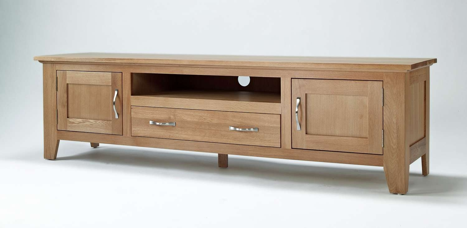Oak Large Tv Stand – Mira Design Interiors With Long Wood Tv Stands (View 6 of 15)