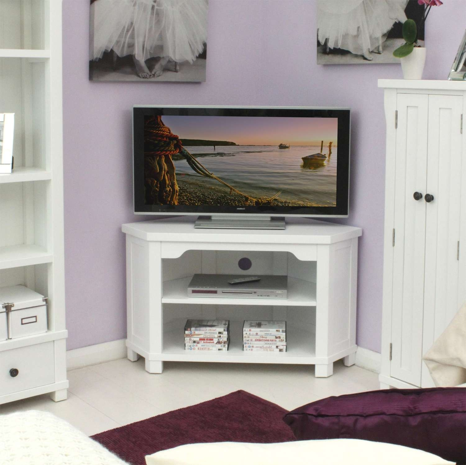 Oak Tv Stands And Modern Black Painted Wooden Media Cabinet With Regarding Cheap White Tv Stands (View 11 of 20)