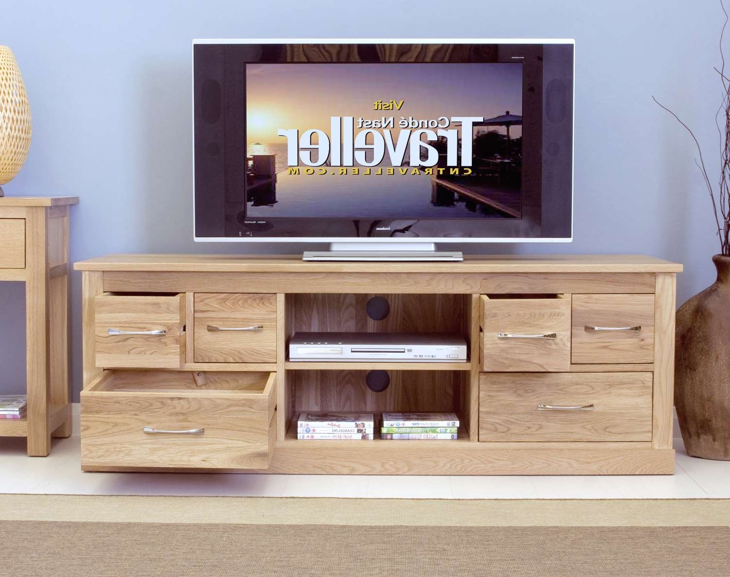 Oak Widescreen Tv Cabinet With 6 Drawers | Big Blu Furniture Within Widescreen Tv Cabinets (Gallery 20 of 20)
