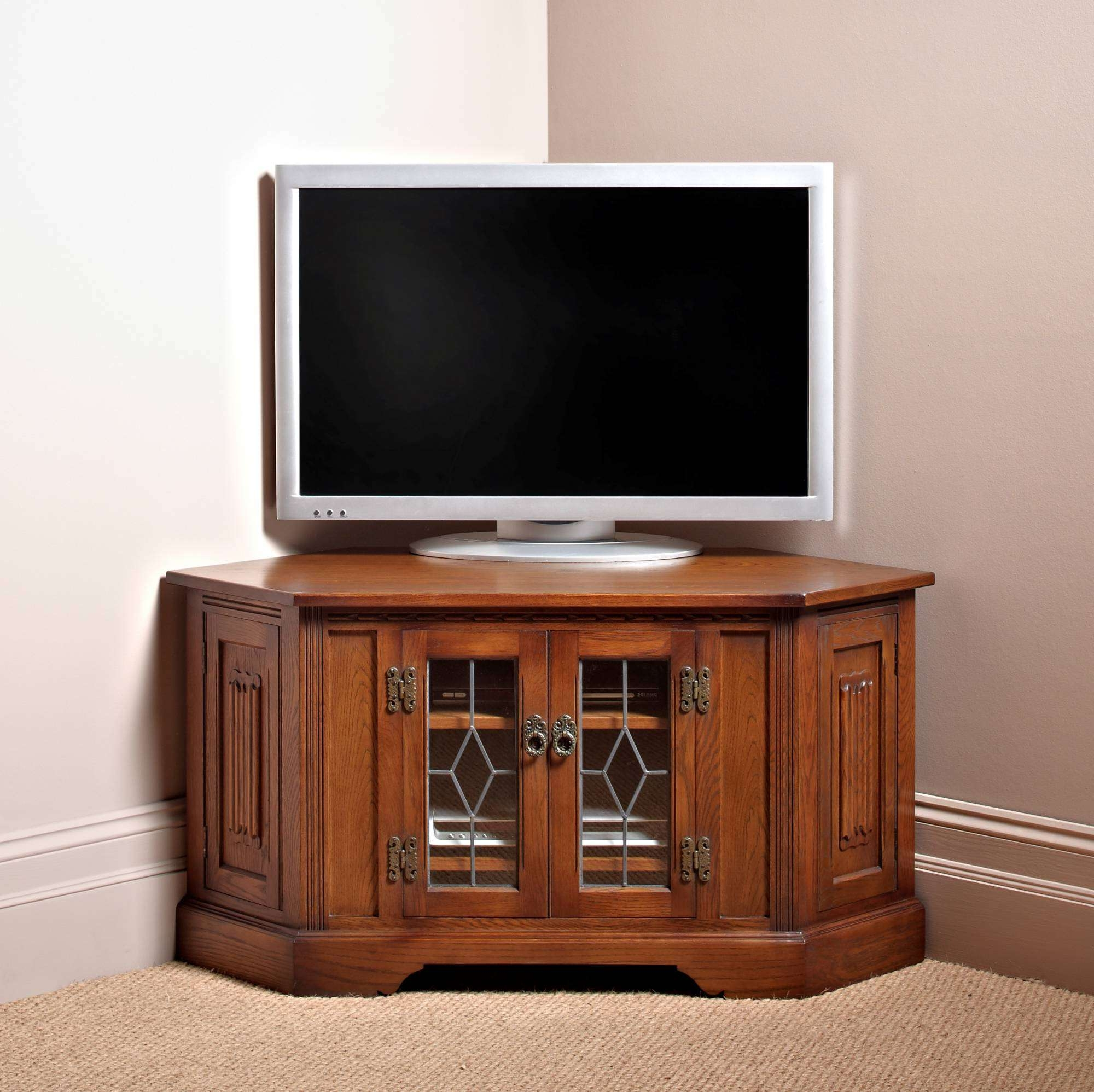 Old Charm Corner Cd/dvd Cabinet – Corner Tv Cabinets Inside Corner Tv Cabinets (View 12 of 20)