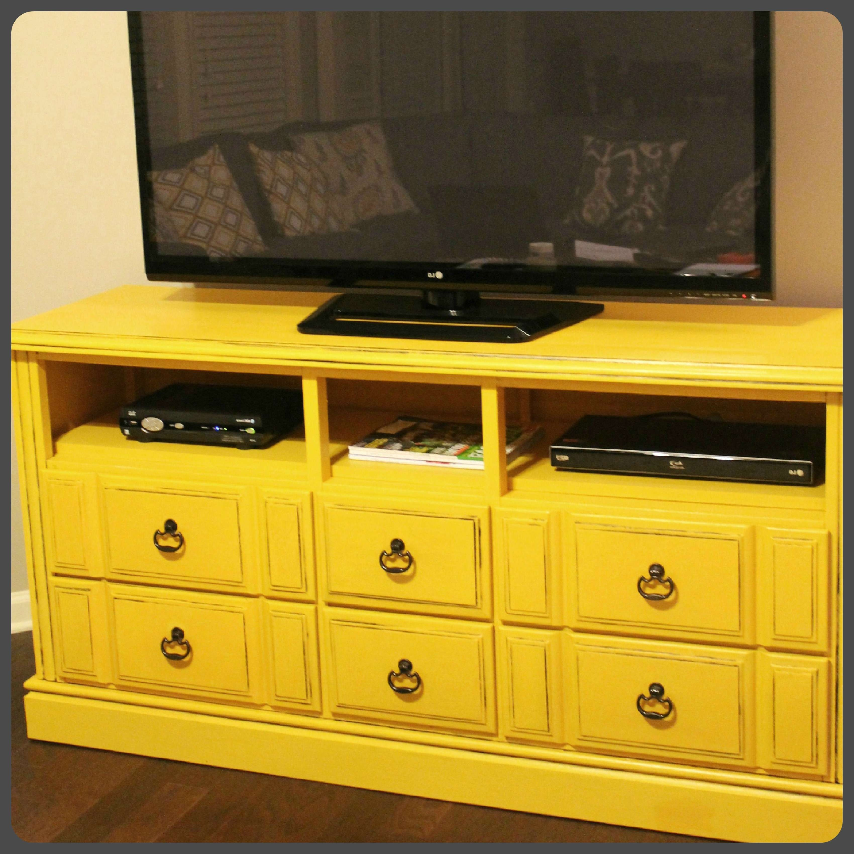 Old Diy Wood Dresser With Drawer And Shelves Makeover Turned Into With Yellow Tv Stands (View 9 of 15)