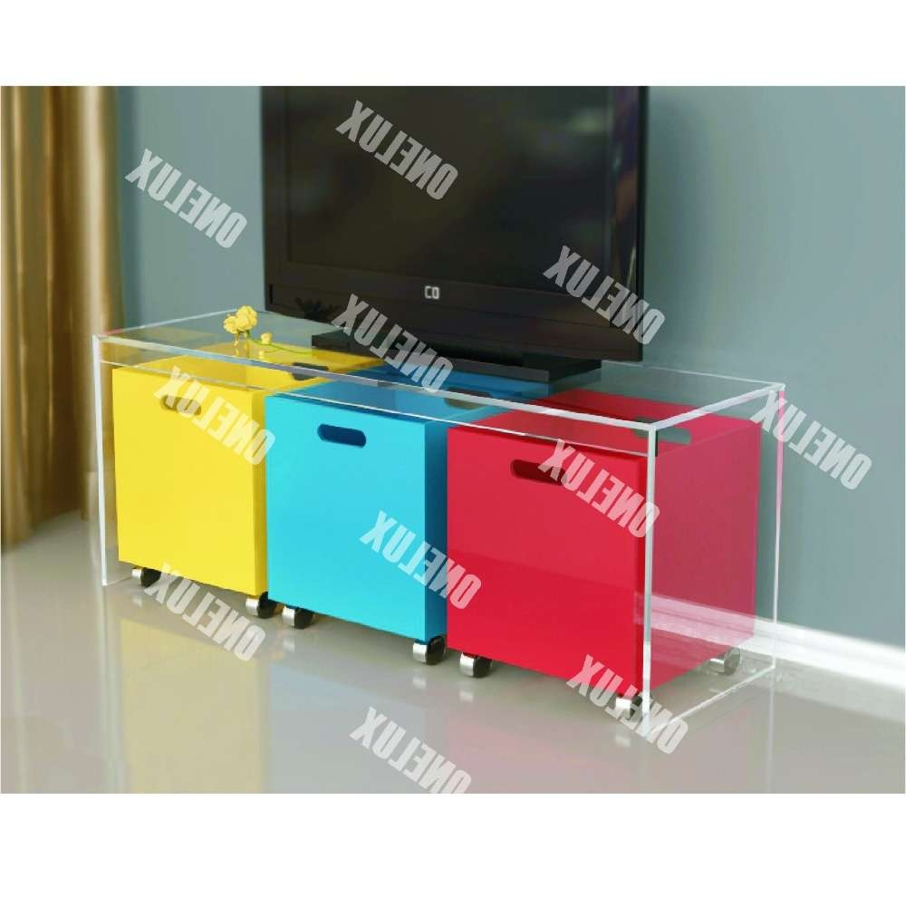 One Lux New Design Waterfall Acrylic Lucite Tv Table / Stand With In Acrylic Tv Stands (Gallery 7 of 15)