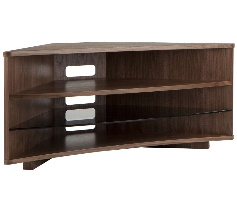 "Optimum Cave Corner Tv Stand For Up To 50"" Televisions 3 Shelves Within Walnut Corner Tv Stands (View 11 of 15)"