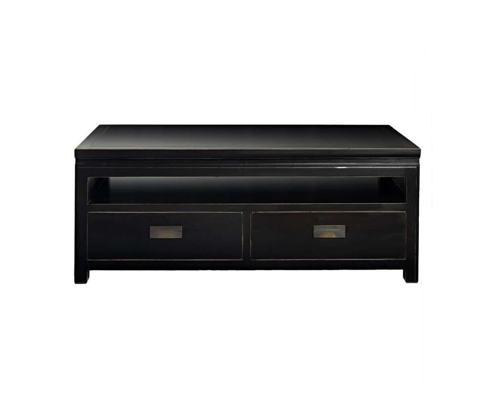 Orient Small Black Lacquer Tv Entertainment Unit With Storage Drawers With Small Black Tv Cabinets (Gallery 5 of 20)