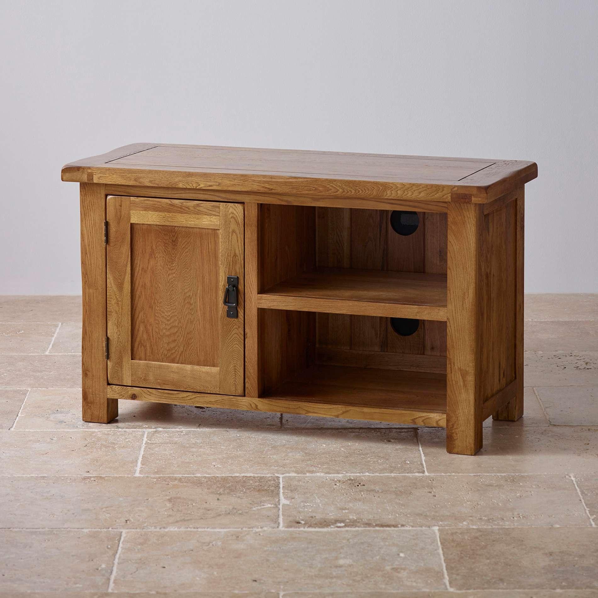 Original Rustic Tv Cabinet In Solid Oak | Oak Furniture Land Intended For Rustic Corner Tv Cabinets (View 5 of 20)