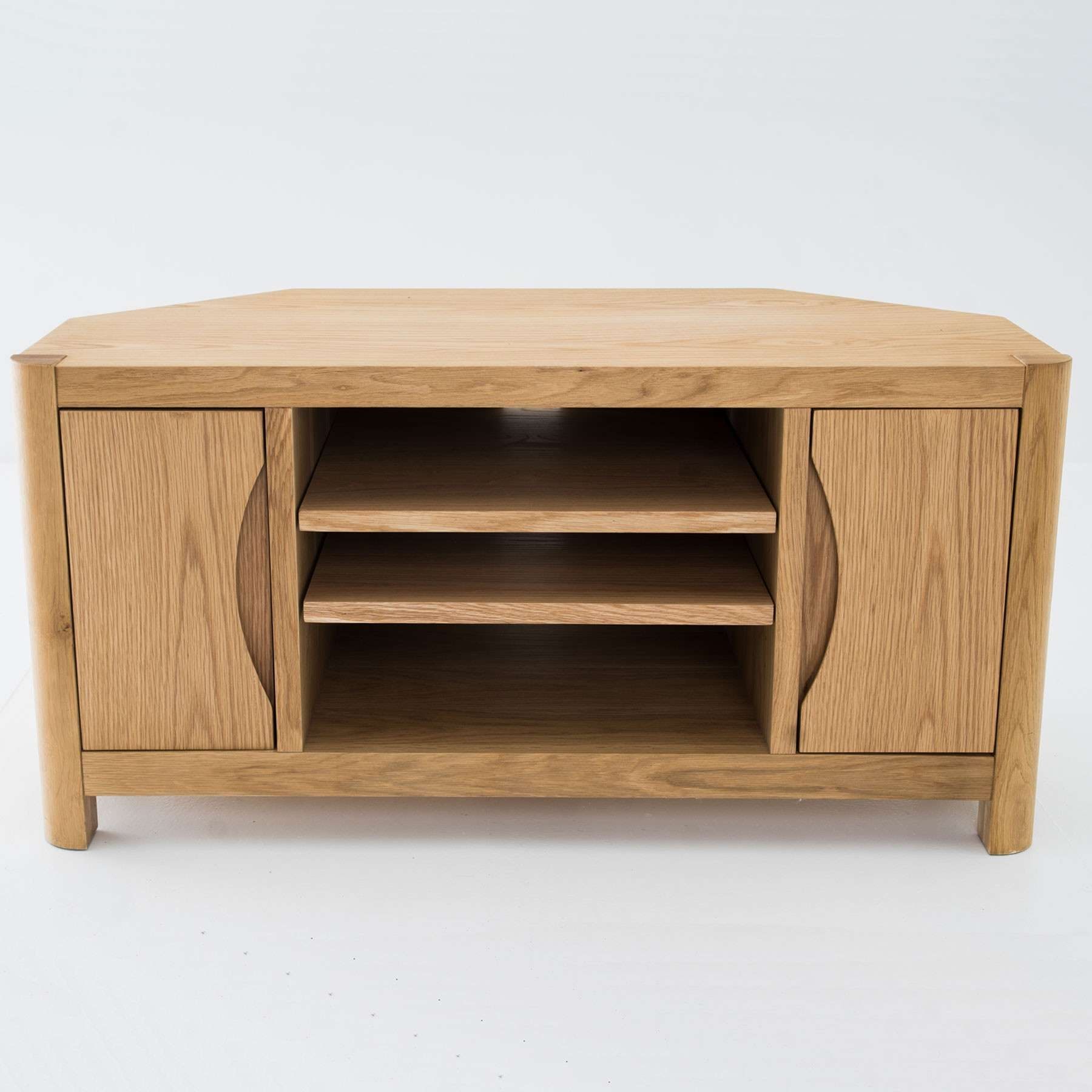 "Oslo Light Oak Corner Tv Stand For Up To 44"" Tvs Inside Light Oak Corner Tv Stands (Gallery 2 of 20)"