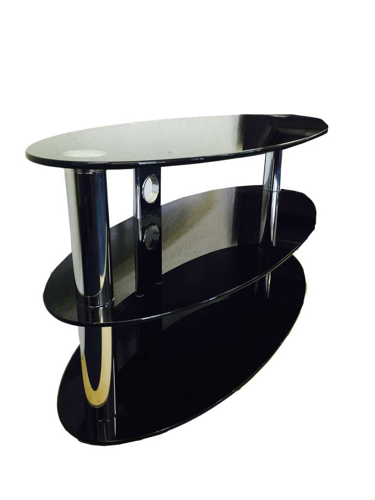 Oval Black Glass And Chrome 3 Tier Tv Stand Table | Ebay Inside Oval Glass Tv Stands (Gallery 2 of 15)