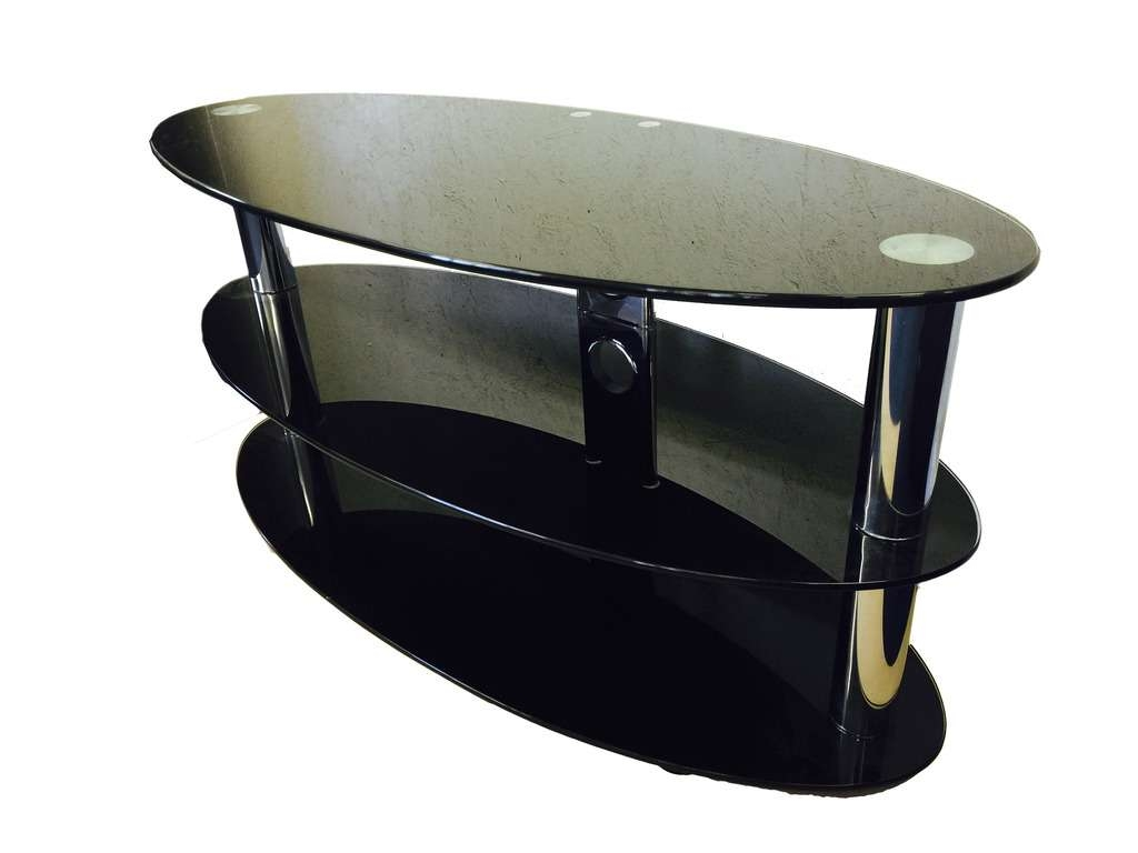 Oval Black Glass And Chrome 3 Tier Tv Stand Table | Ebay With Oval Glass Tv Stands (Gallery 1 of 15)