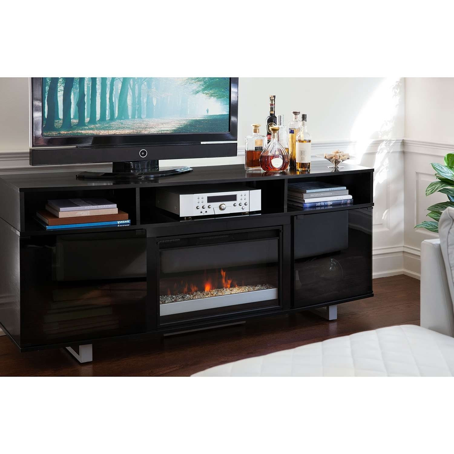 """Pacer 72"""" Contemporary Fireplace Tv Stand – Black 