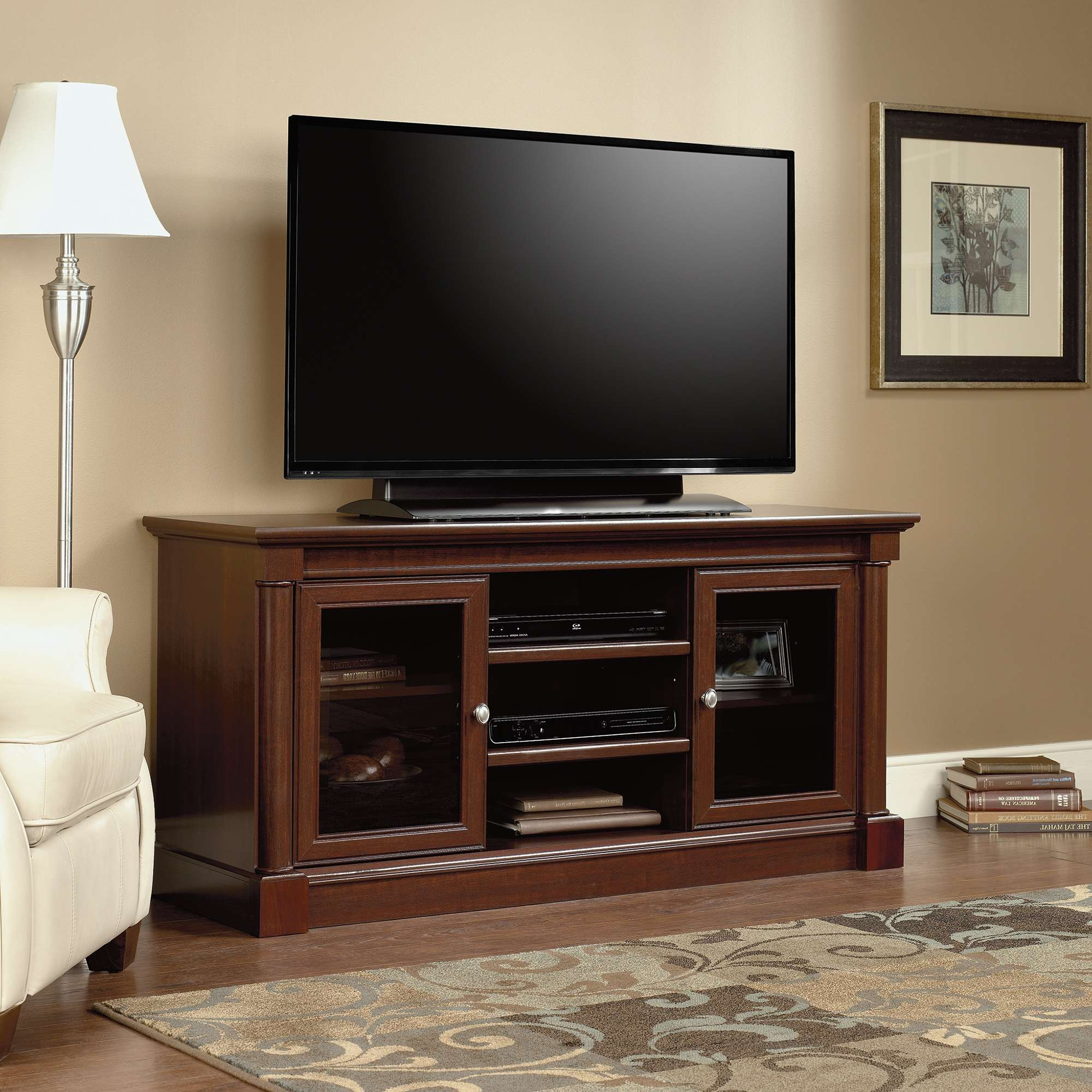 Palladia | Entertainment Credenza | 411865 | Sauder Pertaining To Cherry Wood Tv Stands (View 10 of 15)