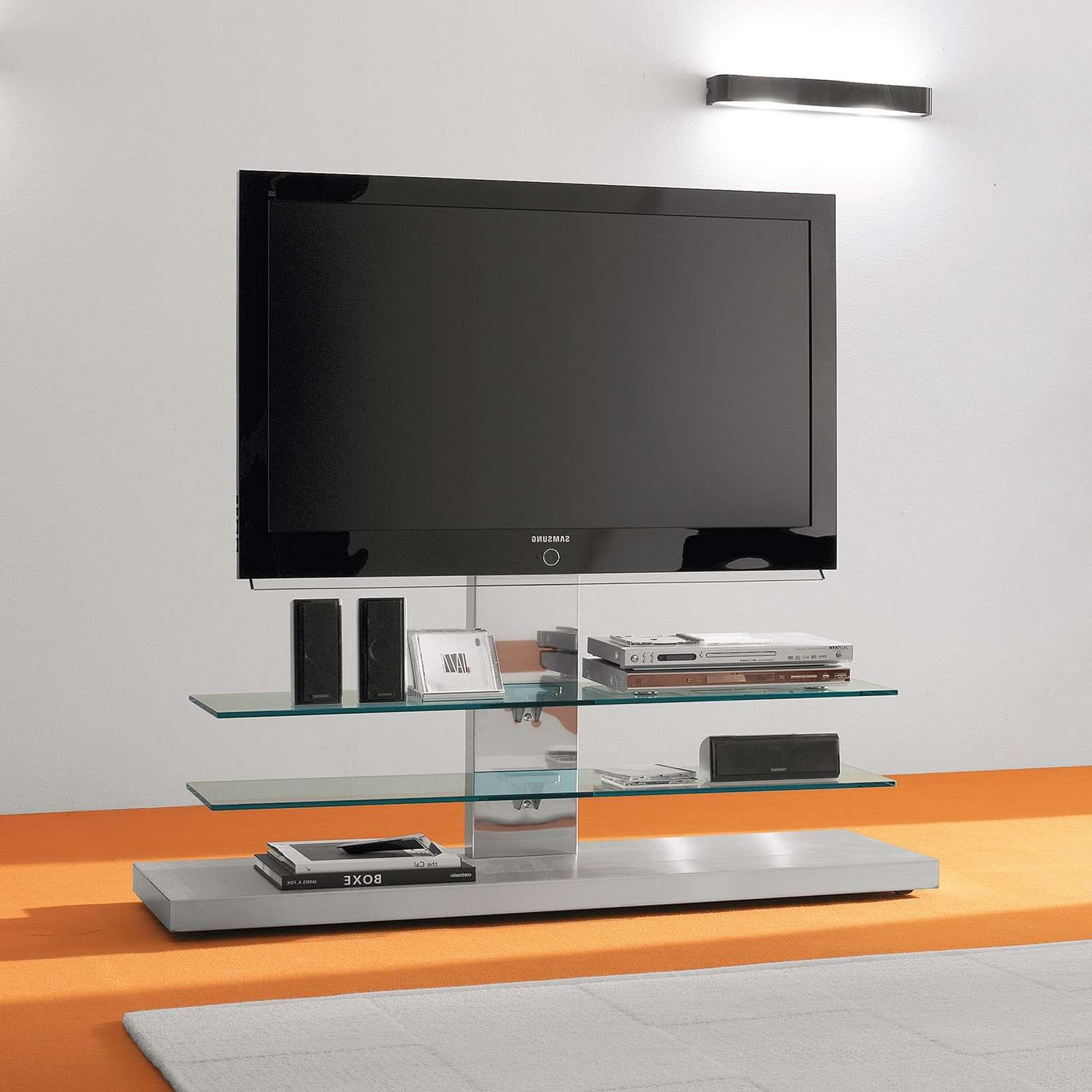 Panorama Adjustable Tv Stand With Casters – Arredaclick With Regard To Panorama Tv Stands (View 14 of 20)