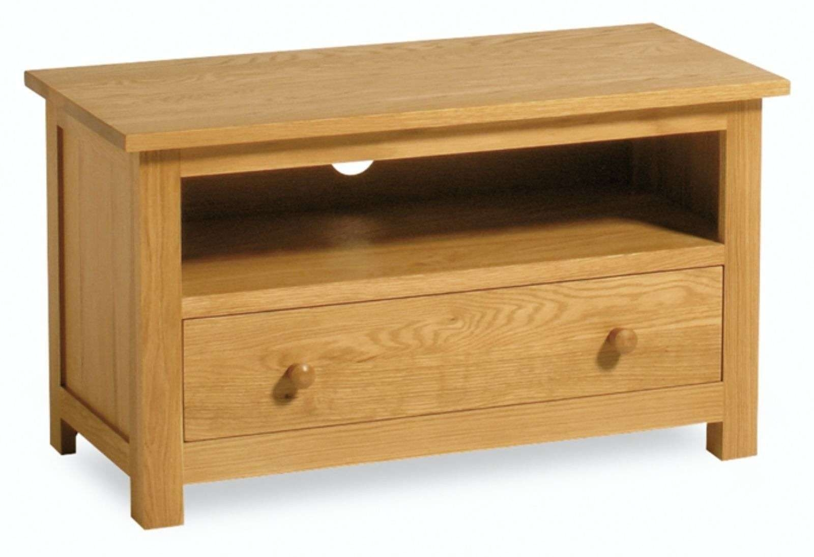 Penrose Oak Small Tv Stand / Modern Light Oak Tv Unit / Solid Wood Throughout Small Oak Tv Cabinets (View 14 of 20)