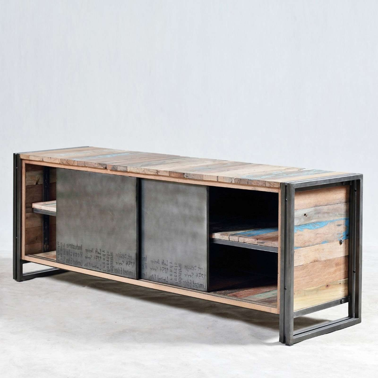 Perky Tv Dresser Stand Rack Sliding Door Iron Industrial Style Rak For Industrial Style Tv Stands (View 13 of 15)