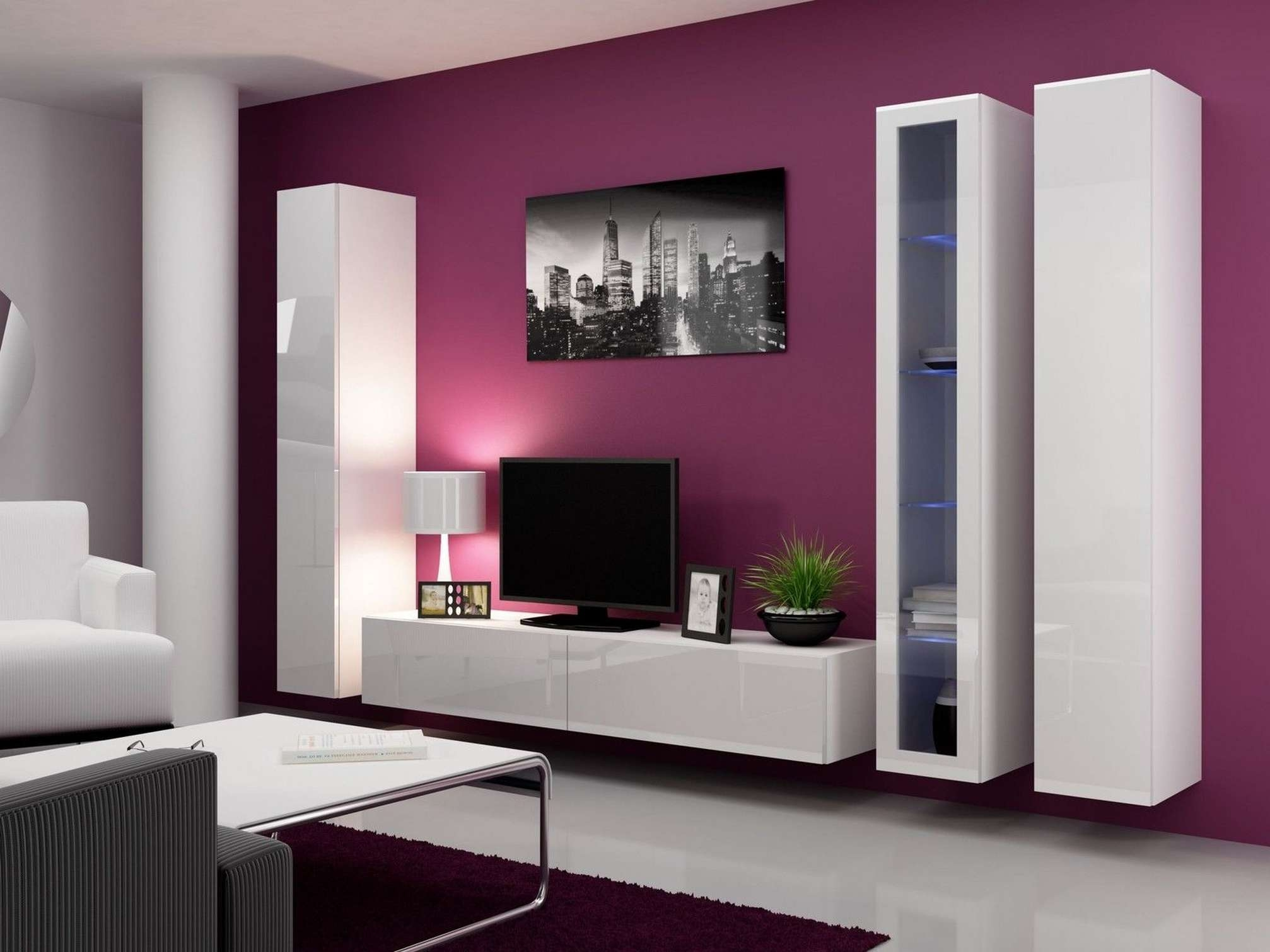 Pink Color Schemes Ideas For Living Room With Modern Wall Mounted With Regard To Modern Wall Mount Tv Stands (View 15 of 20)