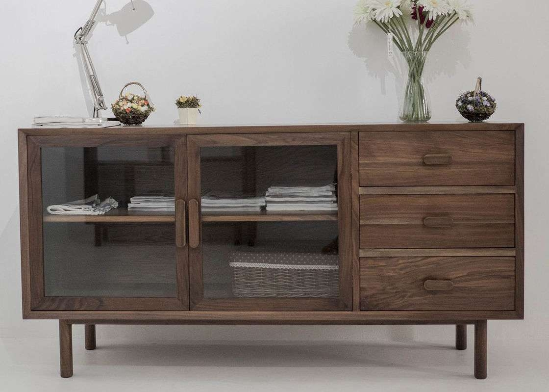 Pl Modern Wooden Television Stands Glass Doors And Drawers Dark With Wooden Tv Cabinets With Glass Doors (View 15 of 20)
