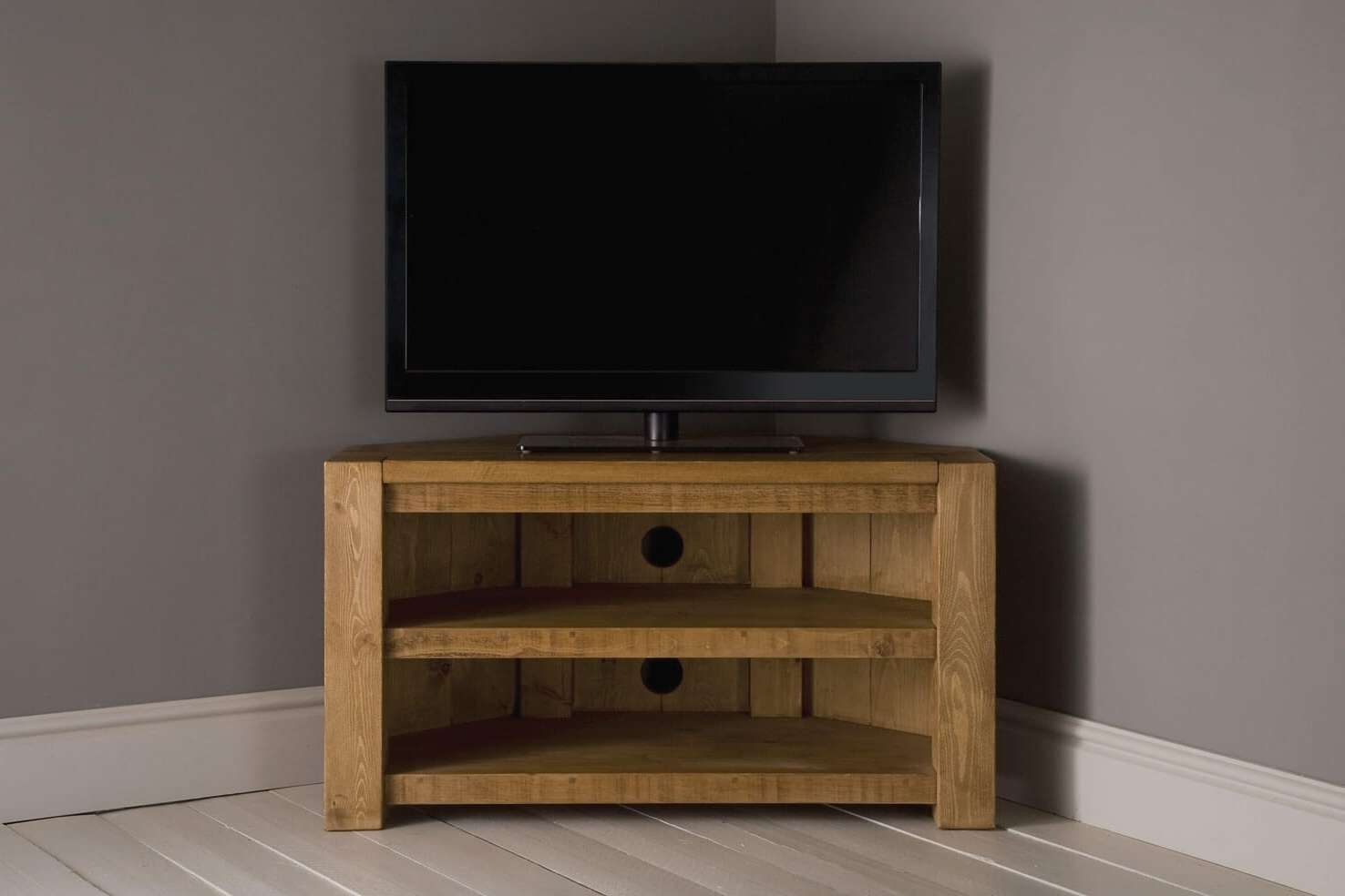 Plank Beam Corner Tv Unit With Shelfindigo Furniture Intended For Wooden Corner Tv Cabinets (View 9 of 20)