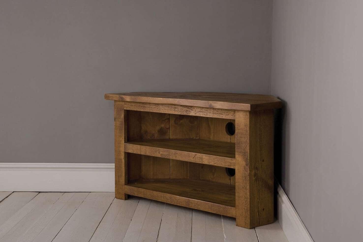 Plank Corner Tv Unit With Shelfindigo Furniture Inside Wood Corner Tv Cabinets (View 7 of 20)
