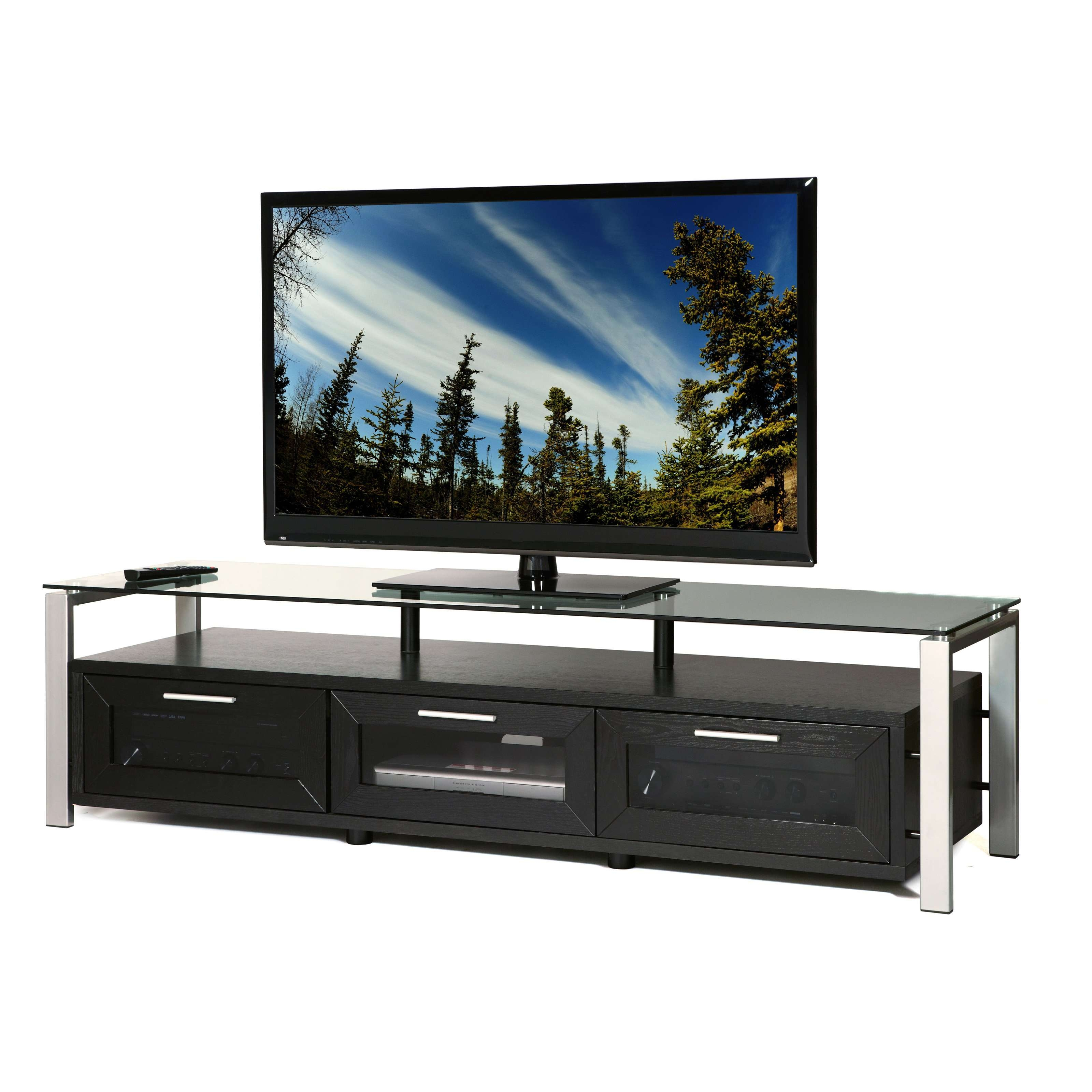 Plateau Decor 71 Inch Tv Stand In Black/clear And Silver | Hayneedle Throughout Silver Tv Stands (View 10 of 15)