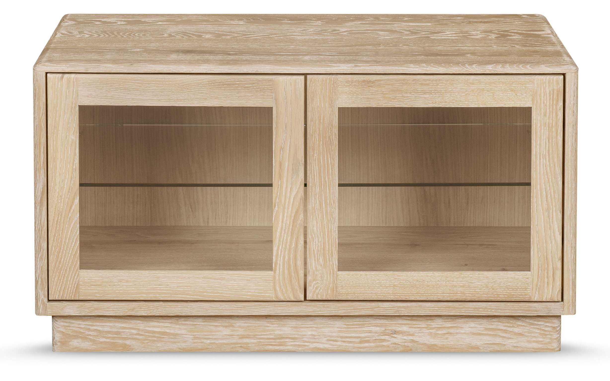 Portofino Tv Unit With Glass Doors | Solid Oak With Regard To Oak Tv Cabinets With Doors (View 11 of 20)